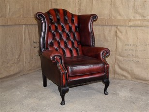 Burgundy Leather Wing Chair